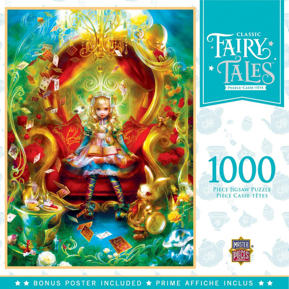 "19.25"" x 26.75"" 1000pc Fairytale Puzzle features Alice in Wonderland sitting on her red, velvet throne"