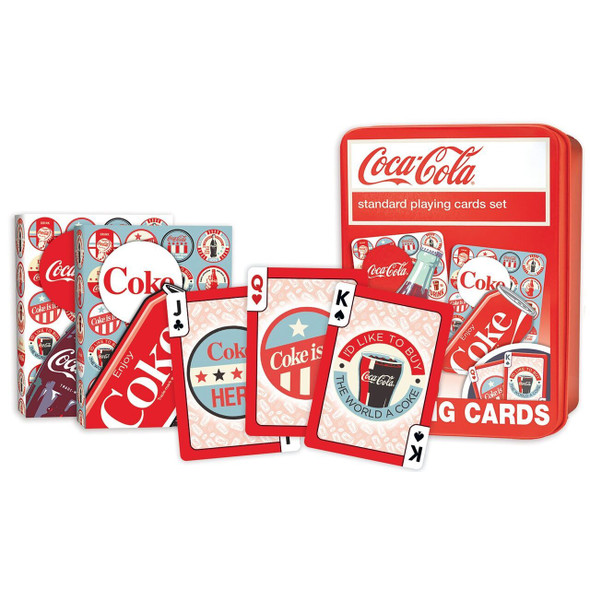 These Coca-Cola playing cards are the perfect collectible decks for any Coke fan! Each standard deck contains 52 cards and 2 jokers. Card-back designs feature custom Coke art. All face cards and jokers have retro style Coke graphics. Officially licensed