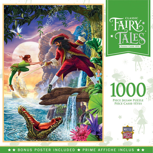 """This MasterPieces 19.25"""" x 26.75"""" 1000pc Fairytale Puzzle features Peter Pan locked in an intense sword fight with Captain Hook in Neverland- complete with Tinkerbell and Hook's crocodile nemesis. To reduce its impact on our environment, the chipboard used in this puzzle is made of recycled material."""