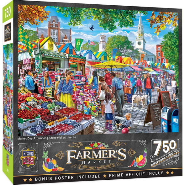 """This MasterPieces 18"""" x 24"""" 750pc puzzle set at the local Farmer's Market. Market Day Afternoon and the whole town shops on the city square ."""