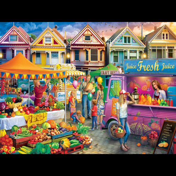 """This MasterPieces 18"""" x 24"""" 750pc Linen puzzle set at the local Farmer's Market. Downtown the summer market is thriving with fresh veggies at the weekend market. To reduce its impact on our environment, the chipboard used in this puzzle is made of recycled material."""