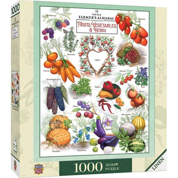 Farmers Almanac - Fruits & Vegetables 1000 Piece Puzzle Jigsaw Puzzles The Nut House