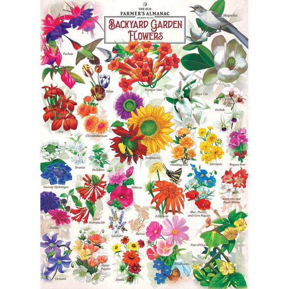 1000 Piece Puzzle by MasterPieces Garden Florals Hand drawn illustrations of beautiful garden floral plants and flowers featured in Farmer's Almanac