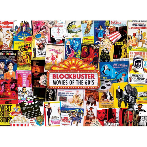 """This MasterPieces 19.25"""" x 26.75"""" 1000pc Flashbacks Puzzle has a nostalgic feeling. Classics of the silver screen and stars of Hollywood. These timeless puzzles are a throw-back to yester-year. The chipboard used in these puzzles is made of recycled material."""