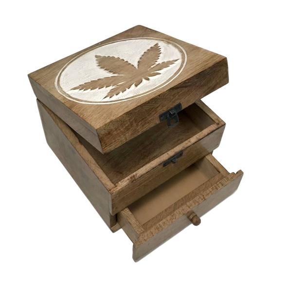 Hand-Carved Wood Cannabis Leaf Design Mirror Chest w/Drawer