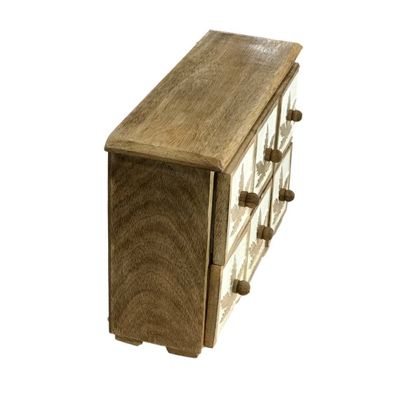 Cannabis design apothecary 6 drawer carved wood cabinet