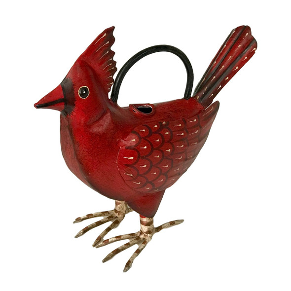 """Colorful cardinal watering can is crafted and hand painted in India. Fun watering can is fully functional and ready to use- or to stand around in the garden just looking fabulous- your choice. Instantly brings a tropical feel to the patio, porch or tiki hut! Dimensions: 14.3"""" l x 3.8"""" w x 14.5"""" h"""