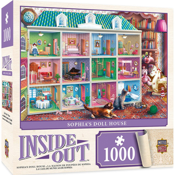 """This MasterPieces 19.25"""" x 26.75"""" 1000pc Inside Out Puzzle gives you a peak at what might be happening inside some of these places features. Peak inside and see all the details hidden within these cut-away puzzles. Floor after floor of fun awaits, with Victorian manors and Retro storefronts for the most discenting of puzzles."""