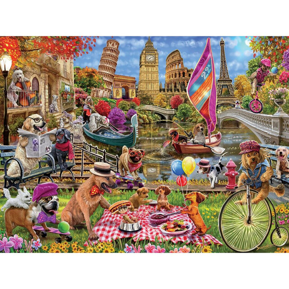 """This MasterPieces 18"""" x 24"""" Medley 300PC EZ Grip Puzzle. Silly dogs are running loose among the greatest landmarks of the world. The EZ-Grip technology used to make this puzzle offers larger puzzle pieces that snap together perfectly, without compromising image quality. To reduce its impact on our environment, the chipboard used in this puzzle is made of recycled material."""