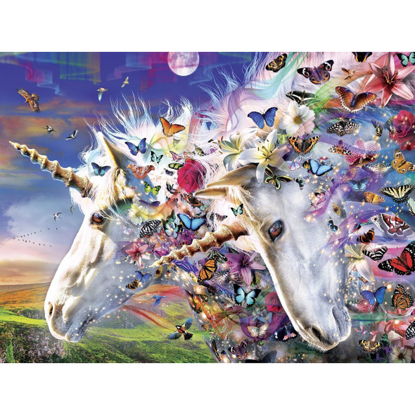 """This MasterPieces 18"""" x 24"""" Medley 300PC EZ Grip Puzzle is packed with fun. Bright and colorful and sparkling in the wind, butterflies join power with the Unicorn spirit. The EZ-Grip technology used to make this puzzle offers larger puzzle pieces that snap together perfectly, without compromising image quality. To reduce its impact on our environment, the chipboard used in this puzzle is made of recycled material."""