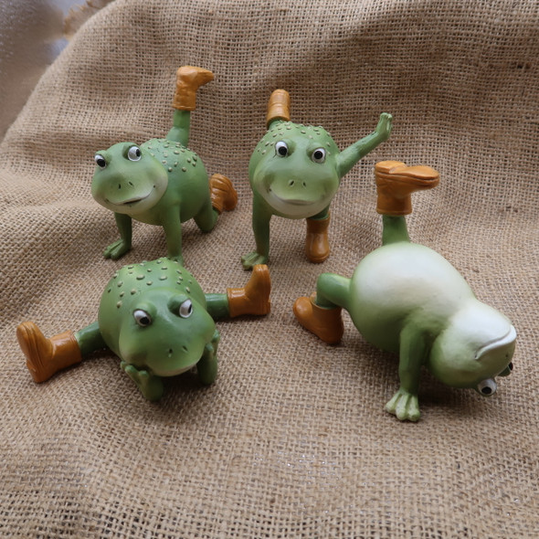 Whimsical frog figurines with rain boots for your desk or windowsill.