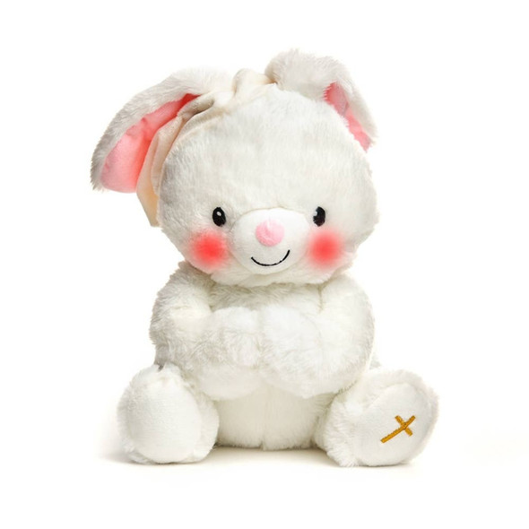 Paws for prayer bunny sweet gift for the newborn from a Godparent plush plays Jesus Loves Me when paws magnetically clasp together
