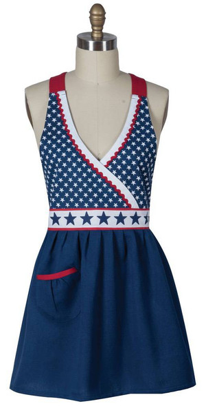 America The Beautiful Hostess Apron Red White And Blue with Stars crossover front and star belt