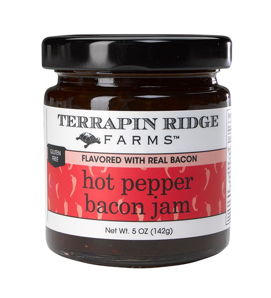 Roasted red bell pepper and real bacon combine to create an addictive jam.  5 oz size