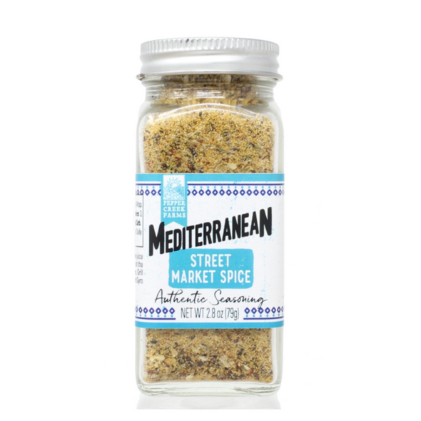 Mediterranean Street Market Spice is packed full of concentrated flavor which is great on Fish, Poultry, Salads, Hummus, Oils and more!