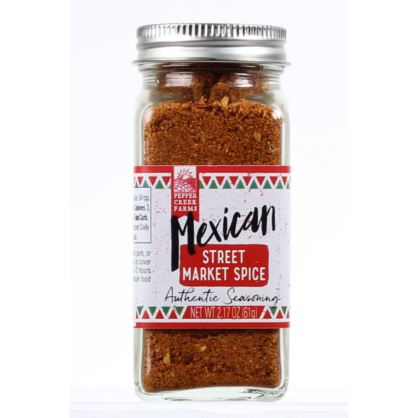Mexican Street Market Spice seasoning can be used on chicken and pork, but also in Beef, Soups, Tacos, Empenadas, Burritos and more Latin American Dishes. Gives your plates a nice kick but not overwhelming.