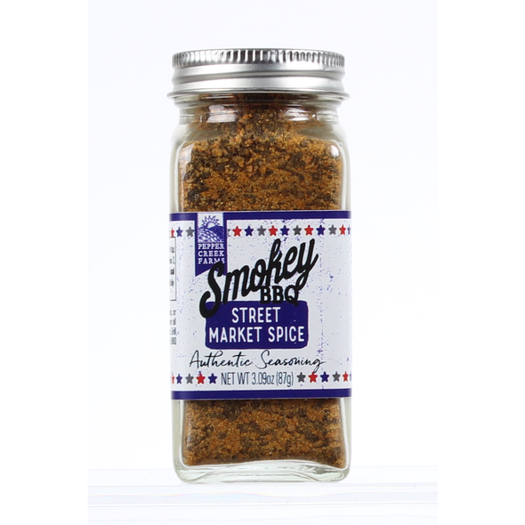 Smokey BBQ Street Market Spice  INGREDIENTS: Spices (Including Mustard), Salt, Dehydrated Garlic, Paprika, Sugar, Natural Flavor, and Silicon Dioxide (to Prevent Caking).  This product is packaged on equipment that makes products containing wheat, eggs, milk, soy and tree nuts.