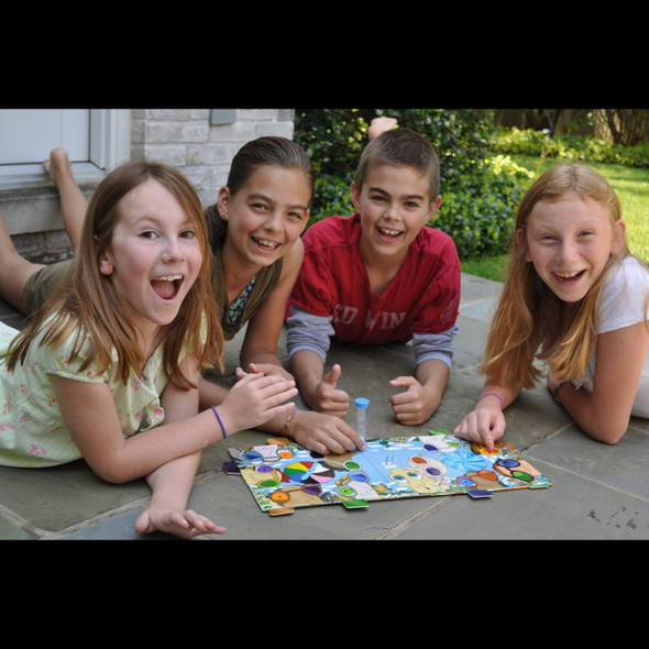 Slooooks is a portable board game that is a cross between I-spy and a scavenger hunt. It's educational, portable and fun.  The rules are simple and all ages can play together.