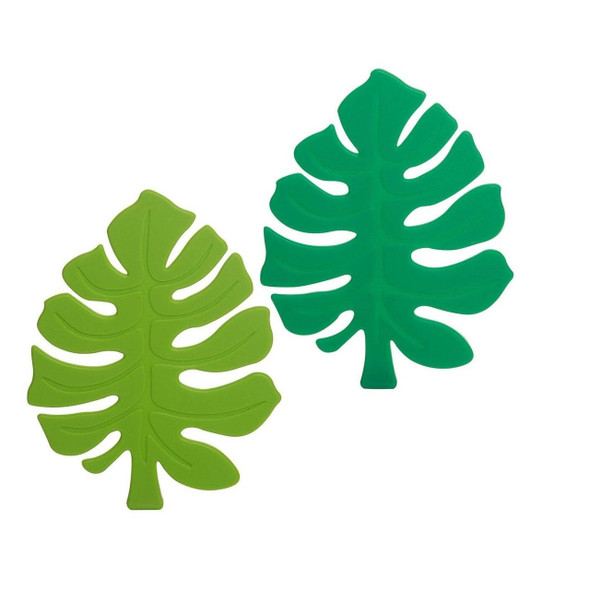 Set of four tropical monstera leaves shaped in silicone protect your table from hot beverages. Can also be used as a trivet for smaller pans. Two each of dark and light green, packed in an acetate box for easy giving.