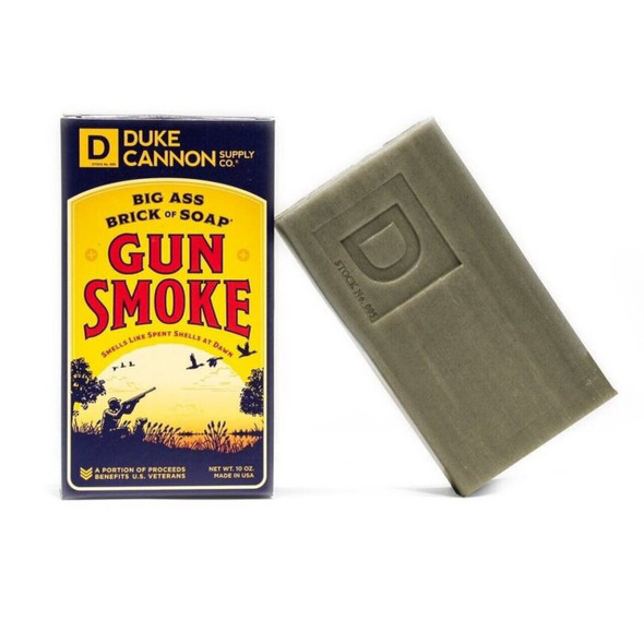 Gun Smoke Soap Bar Features a uniquely rich and slightly smoky blend of smoked wood, bourbon vanilla, and charred leather