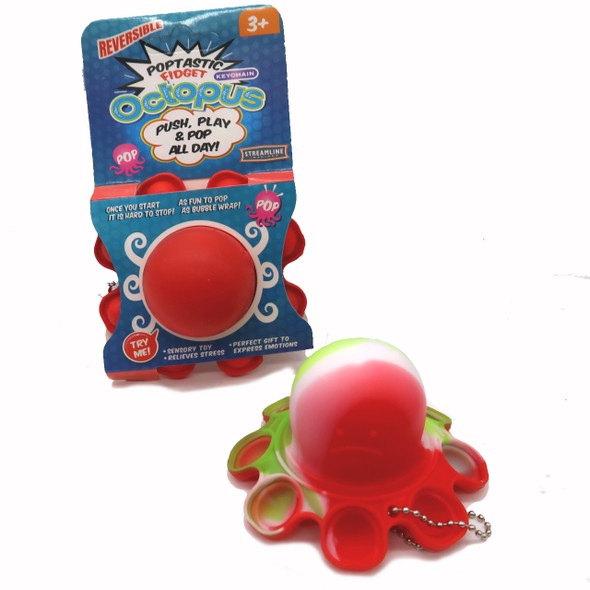 push and pop octopus fidget toy, silicone stress reliever