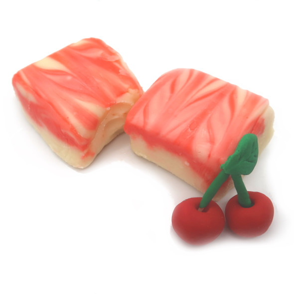 Smooth creamy cheesecake flavored fudge with cherry flavors swirled thoughout.