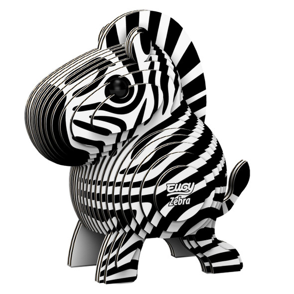 Build layer upon layer to create this unique model zebra. Eugy miniatures are cute cardboard creatures beloved by boys, girls, and parents alike! Designed in New Zealand and made from eco-friendly recycled cardboard and rice-based inks,