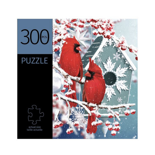Winter Cardinals Design Puzzle by Giftcraft features beautiful cardinals in a wintry scene with red berries.
