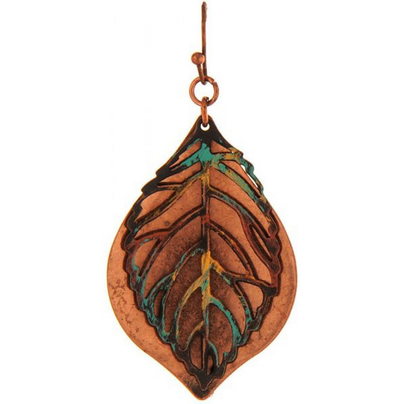 Copper Patina Double Leaf Earring
