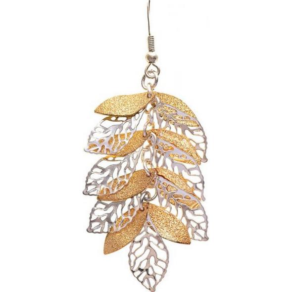 Gold Silver Leaf Cascade Earring