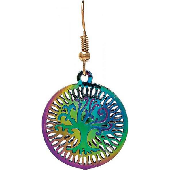 Multi Rainbow Tree Filigree Earring