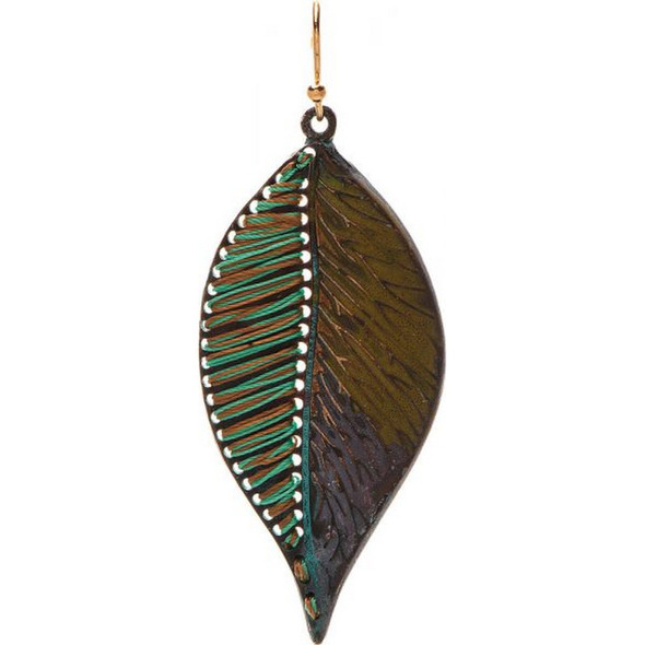 Patina Color Thread Large Leaf Earring