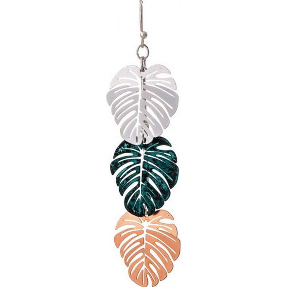 Patina Multi Triple Monstera Leaf Earring