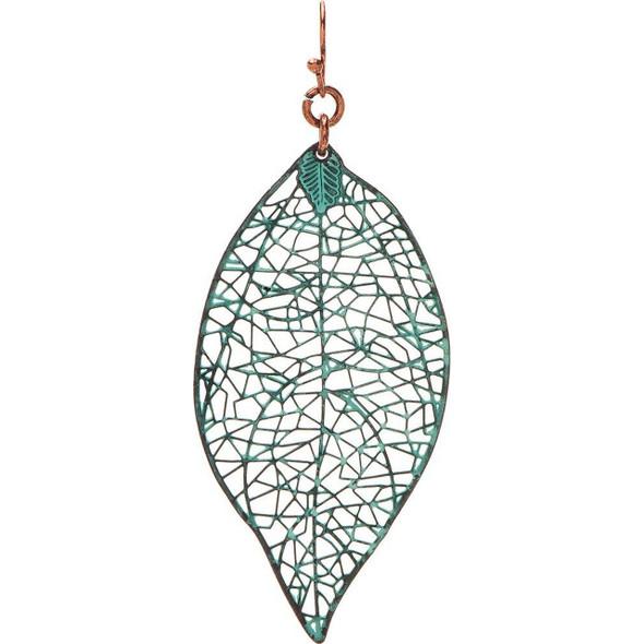 Patina Veined Leaf Earrings