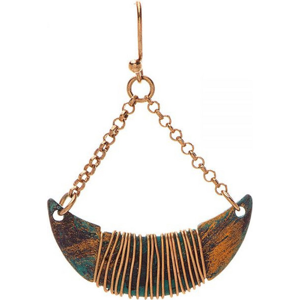 Patina Wire Wrap Crescent Earring