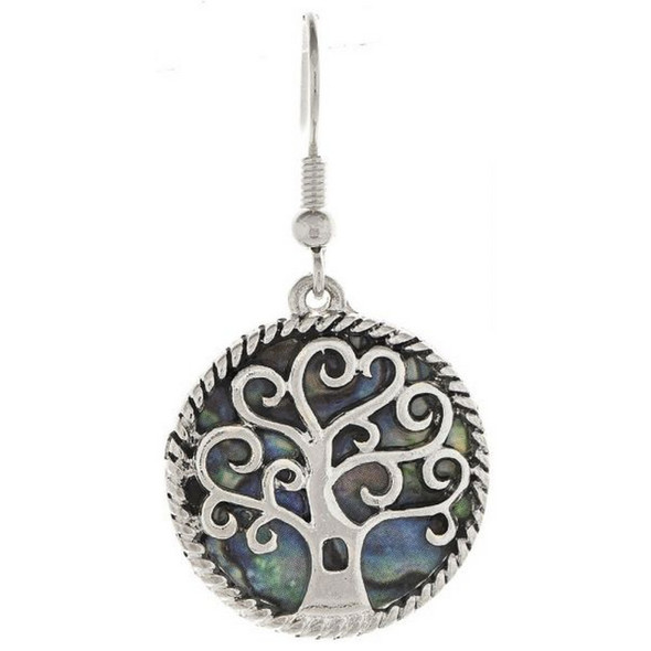 Silver Abalone Tree Earring