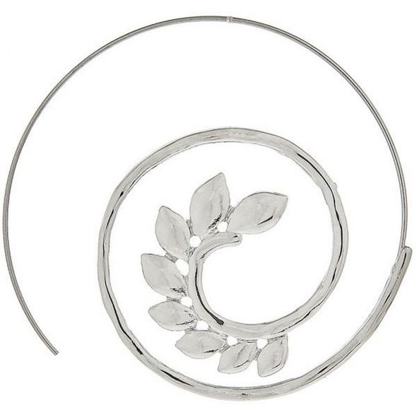 Silver Leaf Swirl Ear Threader