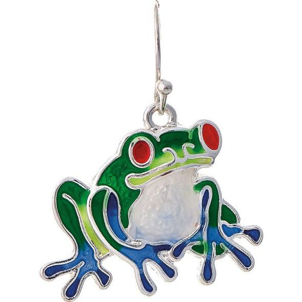 Silver Multi Enamel Frog Earring