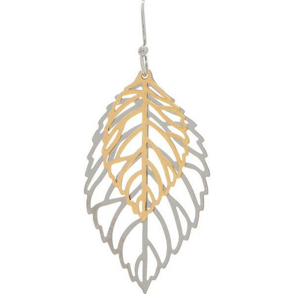 Two Tone Sparkle Leaves Layer Earring
