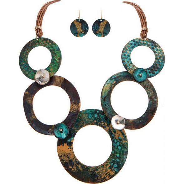 Fire Patina Circles Necklace Set