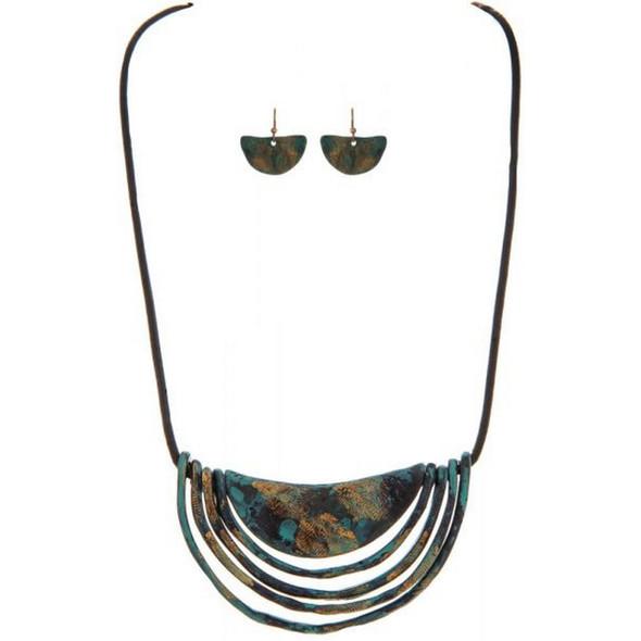 Fire Patina Crescent Pendant Necklace Set