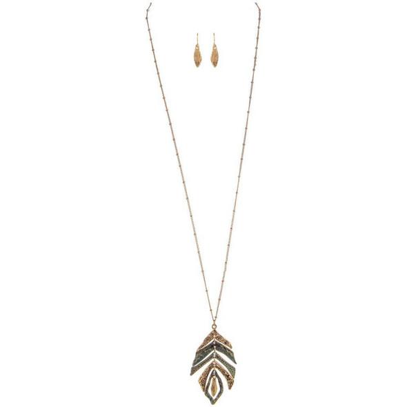 Gold Patina Leaf Long Necklace Set