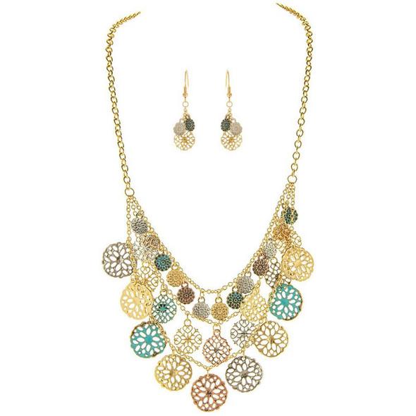 Gold Patina Mix Medallion Necklace Set