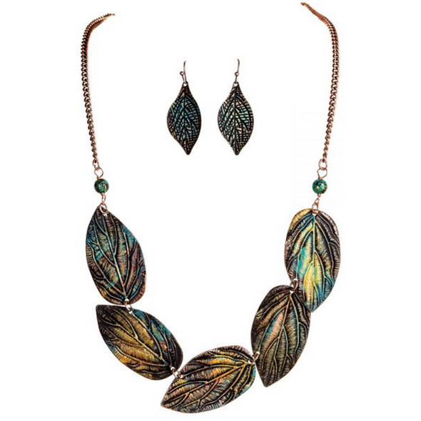 Patina Fire Realistic Leaves Necklace Set