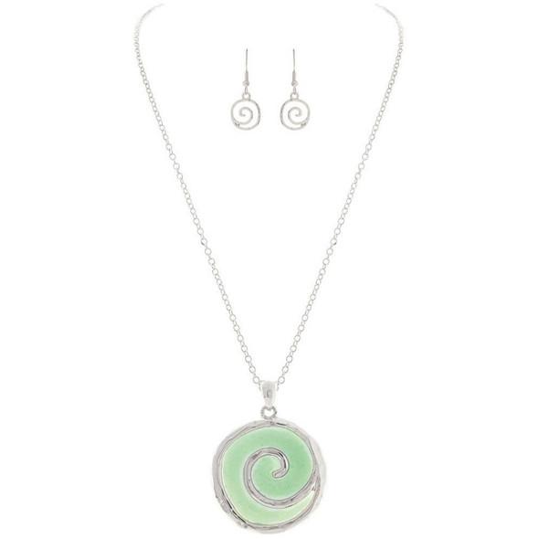Silver Aqua Swirl Necklace Set