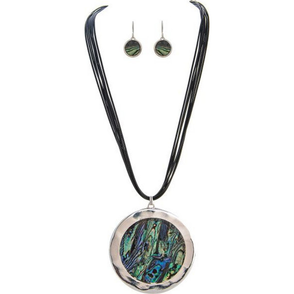 Silver Big Abalone Shell Necklace Set