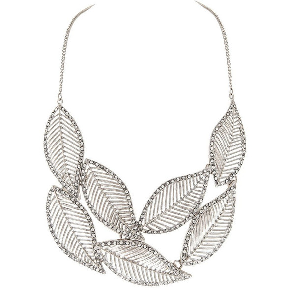 Silver Crystal Leaves Necklace Set