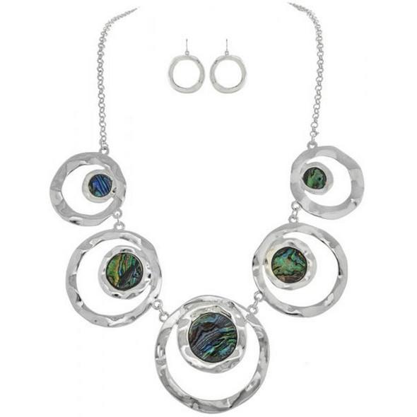 Silver Double Circles Necklace Set