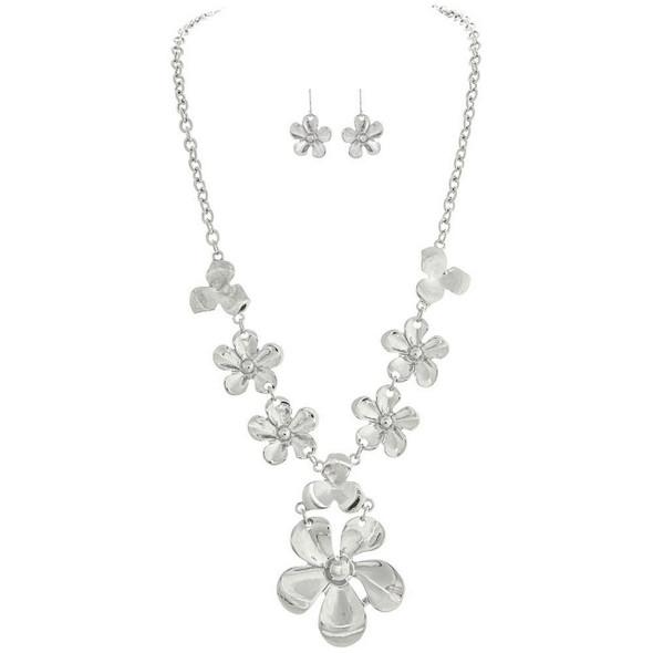 Silver Flower Cascade Necklace Set