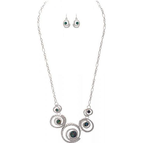 Silver Paua Shell Sea Swirl Necklace Set
